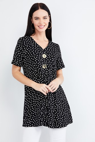 MAX Polka Dot Print Short Sleeves Top