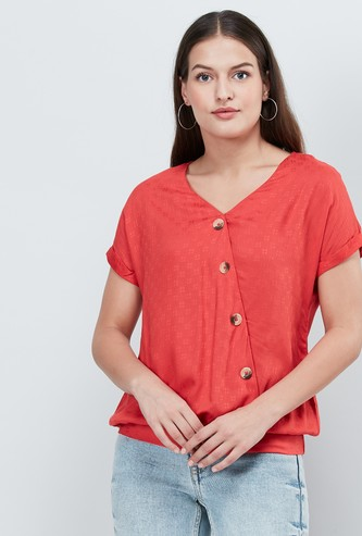 MAX Textured Blouson Top with Asymmetrical Placket