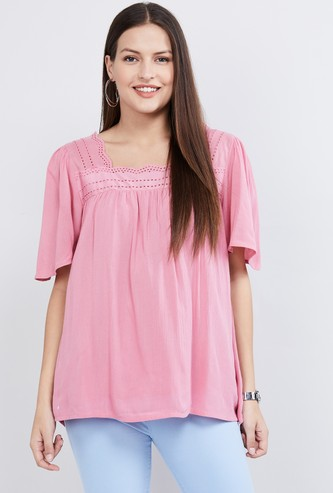 MAX Solid Flared Sleeves Top