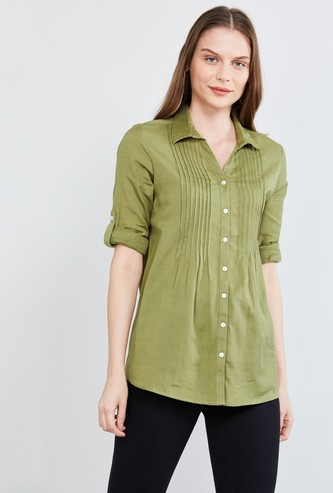 MAX Roll-Up Sleeves Pintucked Casual Shirt
