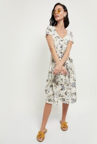 MAX Floral Print V-neck Fit & Flare Dress