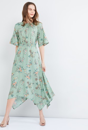 MAX Floral Print Flared Sleeves A-line Dress