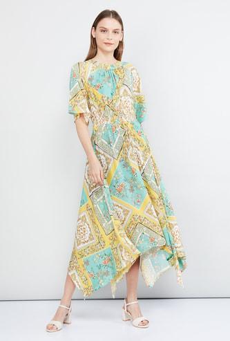 MAX Printed Midi Dress with Handkerchief Hemline