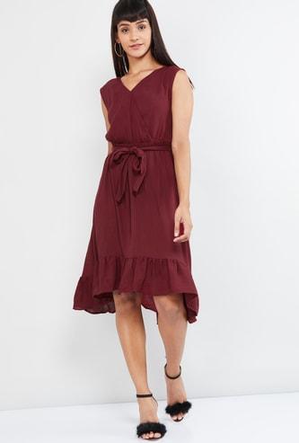 MAX Surplice Neck Sleeveless A-line Dress