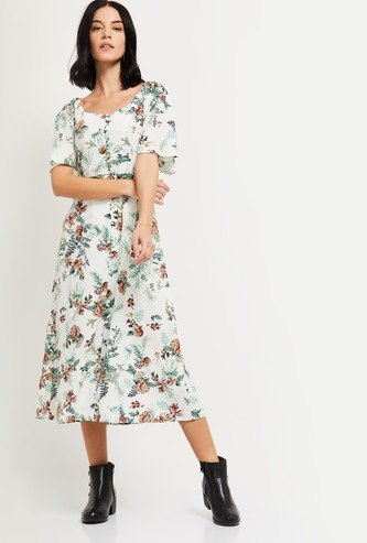 MAX Floral Print Midi Dress withb Boat Neck