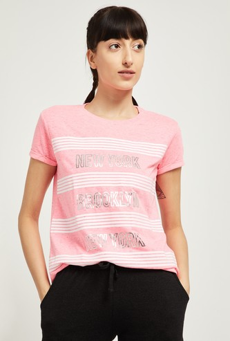 MAX Typographic Print Striped T-shirt