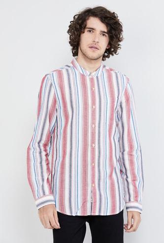 MAX Striped Full Sleeves Band Collar Casual Shirt