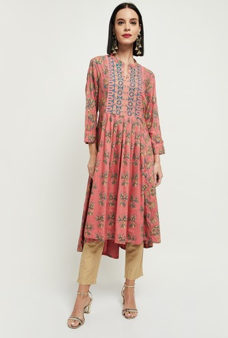 MAX Floral Print Three-Quarter Sleeves Kurta