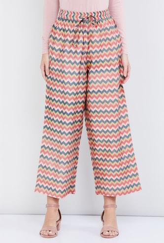 MAX Chevron Print Calf-Length Straight Pants