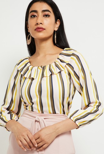 MAX Striped Buttoned Top