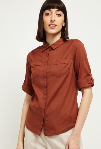 MAX Solid Three-Quarter Sleeves Shirt