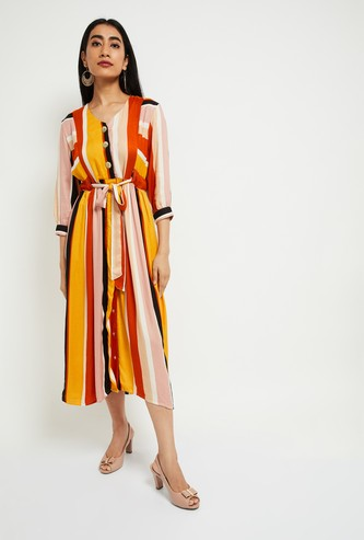 MAX Striped Midi Dress with Sash Tie-Up