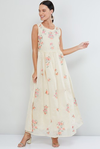 MAX Floral Embroidered Sleeveless Maxi Dress