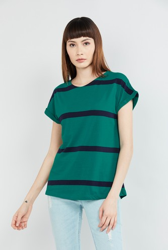 MAX Striped Extended Sleeves Top