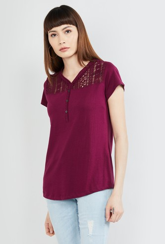 MAX Solid Cap Sleeves T-shirt with Lace Yoke