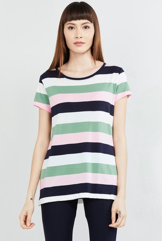 MAX Striped T-shirt with Button Placket