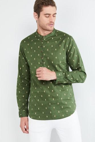 MAX Printed Shirt Kurta with Band Collar