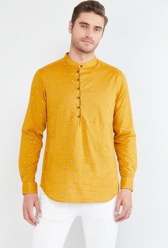 MAX Printed Shirt Kurta with Band Collar