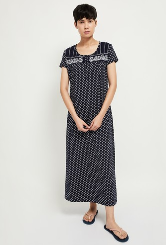 MAX Printed Night Dress with Embroidery