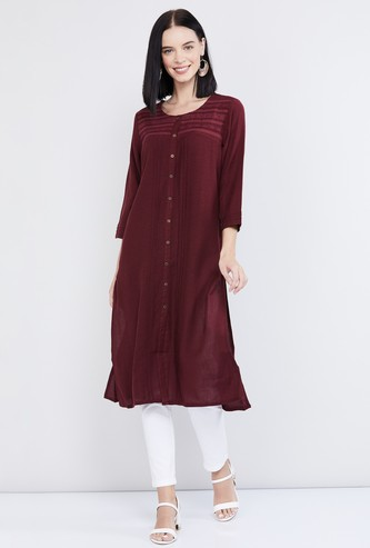 MAX Embroidered Straight Kurta with Button Placket