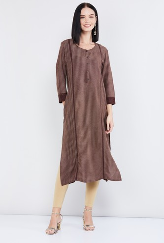MAX Checked Straight Kurta with Button Placket