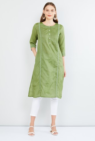 MAX Embroidered Round Neck Straight Kurta