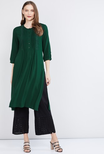 MAX Pin-Tucked Straight Kurta with Lace Detail
