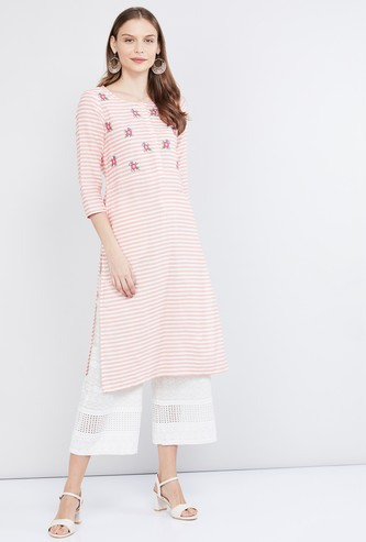 MAX Floral Embroidered Straight Kurta with Side Pocket