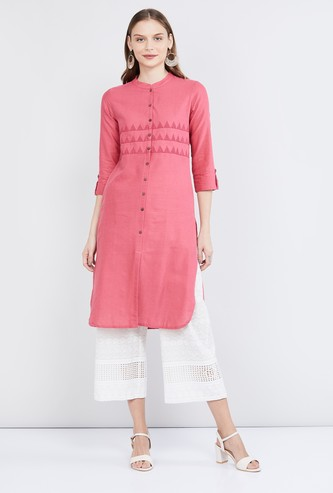 MAX Embroidered Button-Down Straight Kurta