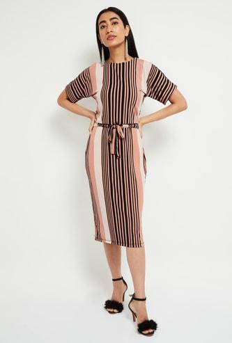 MAX Striped Tie-Up Waist Sheath Dress