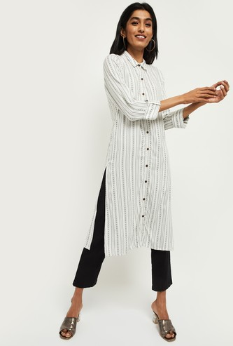 MAX Striped Three-quarter Sleeves Straight Kurta