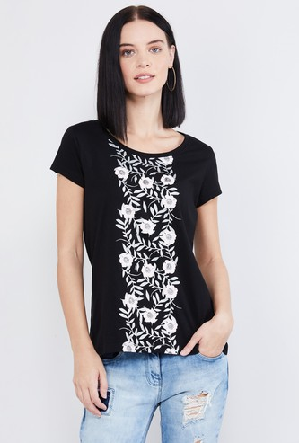 MAX Floral Print T-shirt with Cap Sleeves