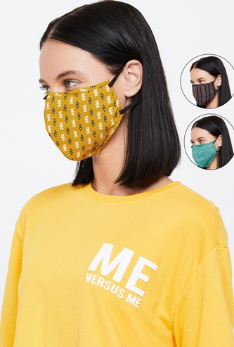 MAX Women Printed Face Mask- Pack of 3