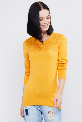 MAX Patterned Knit Round-Neck Sweater