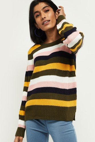 MAX Patterned Knit Full Sleeves Sweater