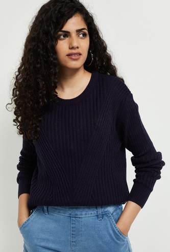 MAX Patterned Knit Crew-Neck Sweater