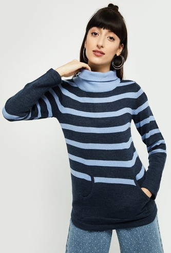 MAX Striped High-Neck Sweater