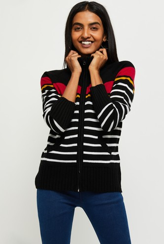 MAX Striped Zip-Through Sweater