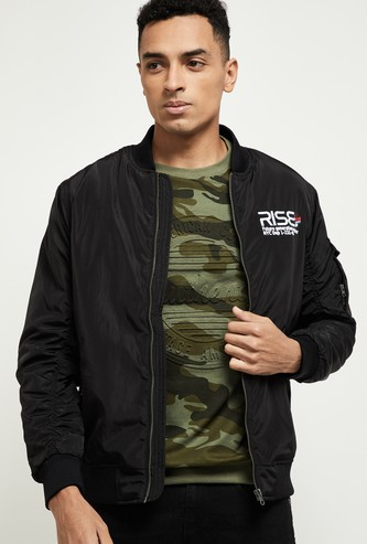 MAX Typographic Print Padded Bomber Jacket