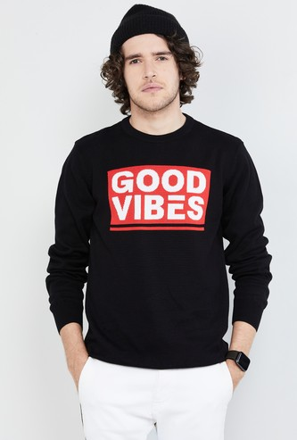 MAX Typographic Print Full Sleeves Knit T-shirt