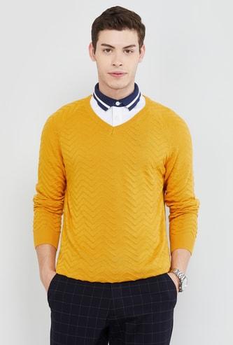 MAX Chevron Patterned V-neck Sweater