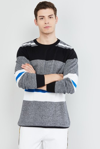 MAX Striped Full Sleeves Knit T-shirt