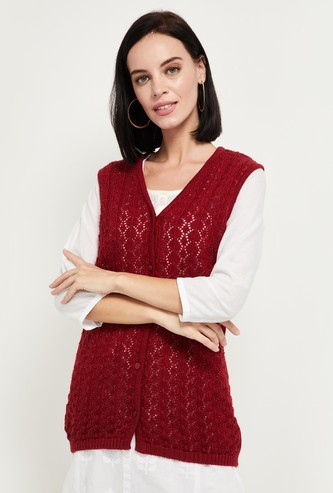 MAX Patterned Knit V-neck Sleeveless Cardigan