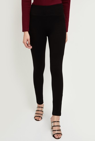 MAX Solid Skinny Fit Treggings with Side Zip Closure