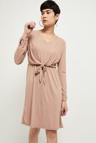 MAX Solid Dress with Tie-Up Detail
