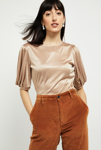MAX Sheen Top with Puffed Sleeves