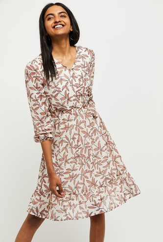 MAX Leaf Print V-neck Fit and Flare Dress