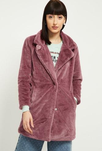 MAX Solid Faux Fur Coat