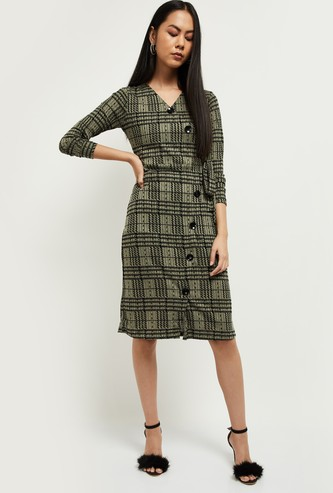 MAX Checked Three-quarter Sleeves A-line Dress