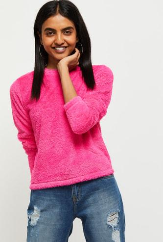 MAX Solid Round Neck Fuzzy Sweater